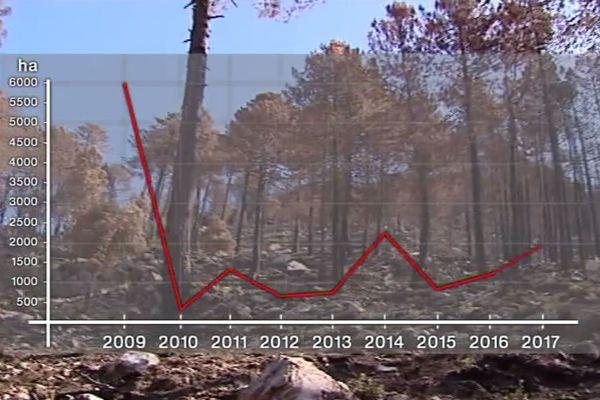 Nombre d'hectares brûlés par des incendies depuis 2009.