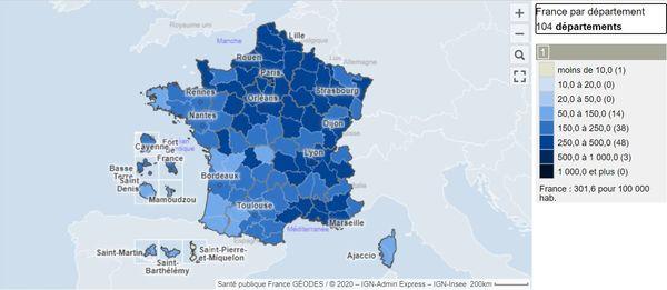 Carte des taux d'incidence en France - Semaine glissante (pour 100 000 hab.) - Du 19 au 25 avril.d