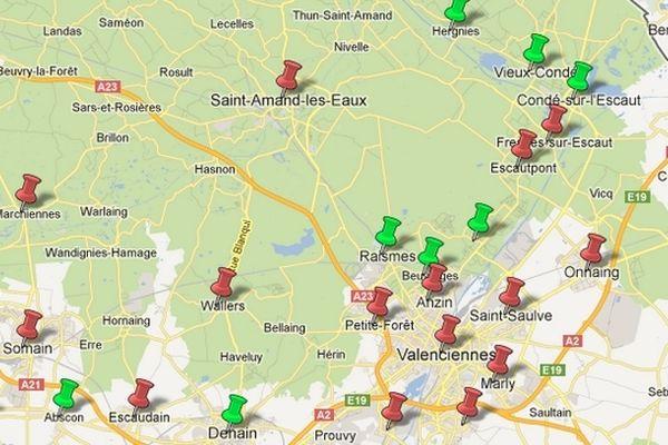En vert, les communes qui appliqueront la réforme des 4,5 jours en 2013. En rouge, celle qui reportent à 2014.