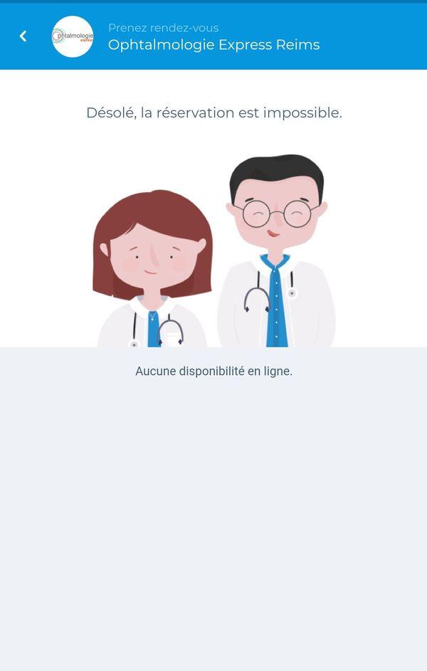 Sur l'application mobile Doctolib, ce mardi 29 mai à 10h30, il n'était déjà plus possible de réserver une consultation à Ophtalmologie Express
