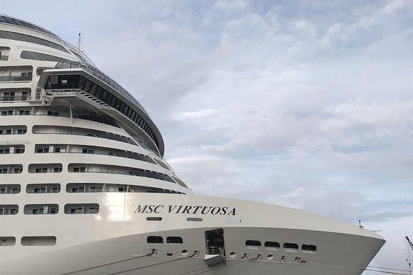 """Le """"Virtuosa"""", l'un des plus grands paquebots de la flotte de MSC Croisières, est livré par les Chantiers de l'Atlantique lundi 1er février 2021"""
