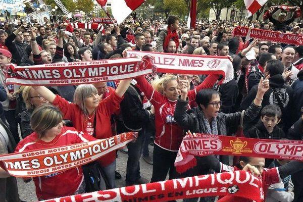 Manifestation des supporters du Club nîmois en novembre 2014