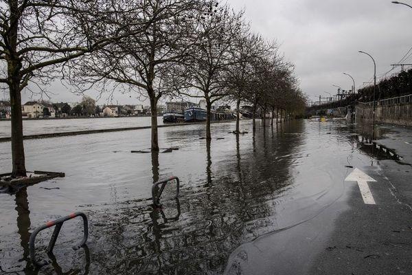 La crue de la Seine en février 2018. Photo prise au niveau de Villeneuve-Saint-Georges (Val-de-Marne).