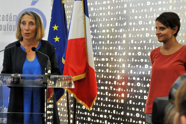 Hélène Bernard avec l'ex-ministre de l'éducation nationale Najat Vallaud-Belkacem