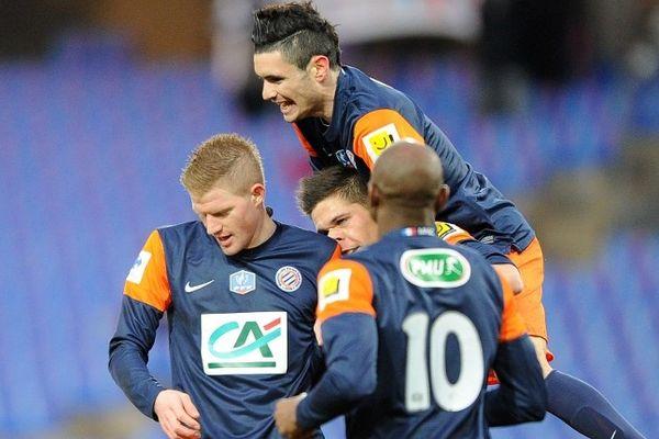 Montpellier - le MHSC ouvre la marque par Charbonnier à la 15e minute en 16e de finale de coupe de France - 23 janvier 2013.