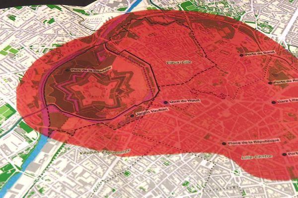 """En rouge, la fameuse zone tampon dans laquelle l'Unesco aurait un droit de regard sur les aménagements. Lille Verte dénonce """"un scénario maximaliste""""."""