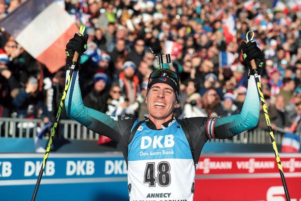 Quentin Fillon-Maillet lors de sa troisième place en sprint le 19 décembre au Grand-Bornand.