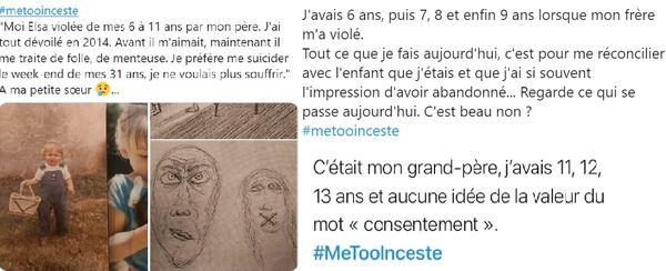 Sur le réseau social Twitter, de nombreuses victimes racontent leur traumatisme avec #MeTooInceste.