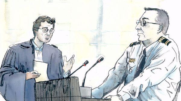 L'adjudant Fabrice D. face à Me Gabriel Dumenil, avocat de Willy Bardon, lors de son audition aux assises de la Somme, le jeudi 28 novembre.