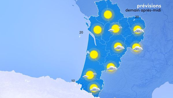 Les températures maximales évolueront peu, sauf sur le Haut Limousin où elles gagneront 2 à 3 degrés, et se situeront entre 16 et 22 degrés. Globalement, le vent de nord à nord-est pourrait amoindrir la sensation de douceur.