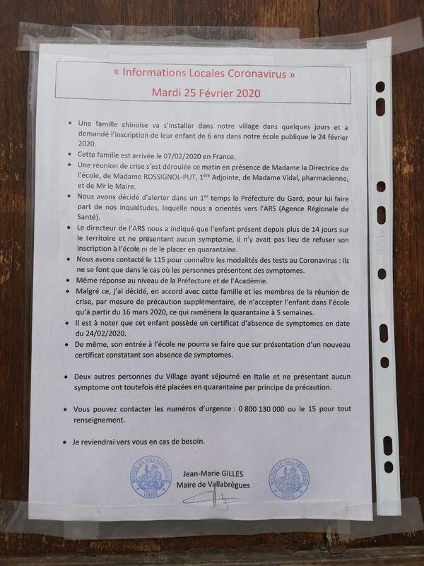 Le maire de Vallabrègues a prévenu la population de l'arrivée d'une famille chinoise dans le village à cause du coronavirus
