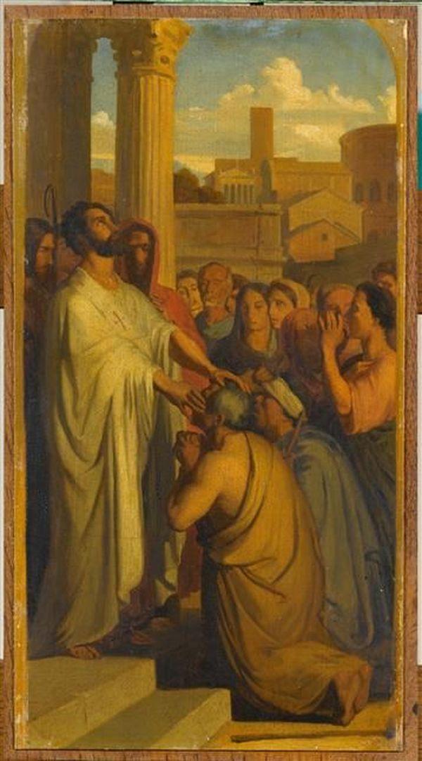 """Copie fidèle du tableau d'Hippolyte Flandrin par Paul Flandrin tableau """"Saint Clair guérissant les aveugles""""  vers 1836"""