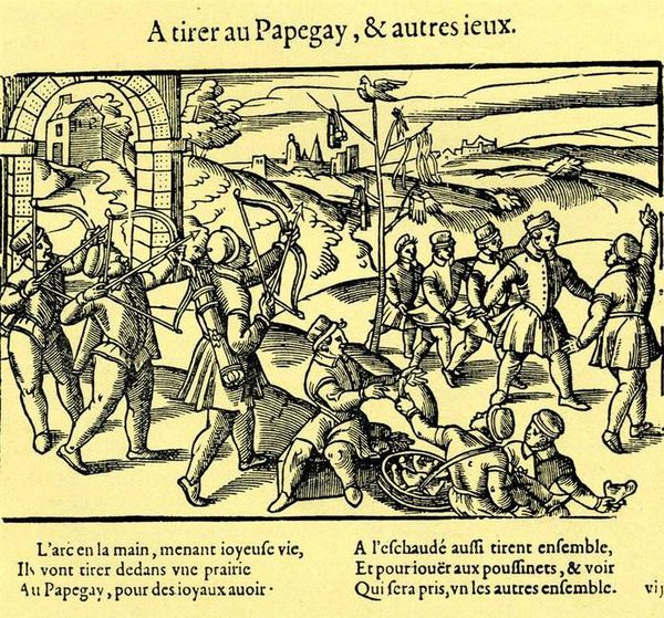 """Le """"jeu du papegai"""" illustré en Anjou, au 16e siècle."""