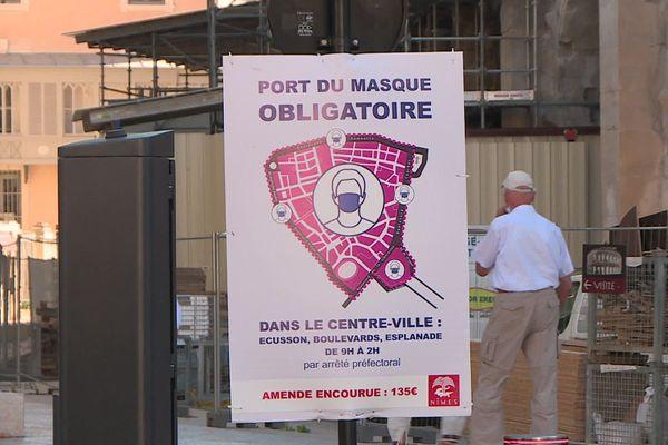 Nîmes - le port du masque obligatoire dans la ville - septembre 2020.