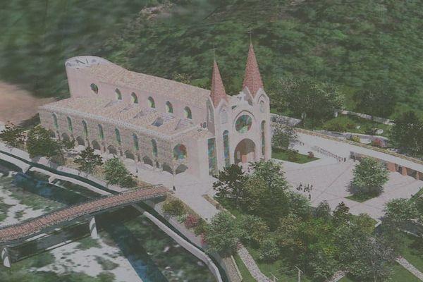La basilique Notre-Dame de Saint-Pierre-de-Colombier au bord de la rivière Bourges prévue pour accueillir 3500 pèlerins.