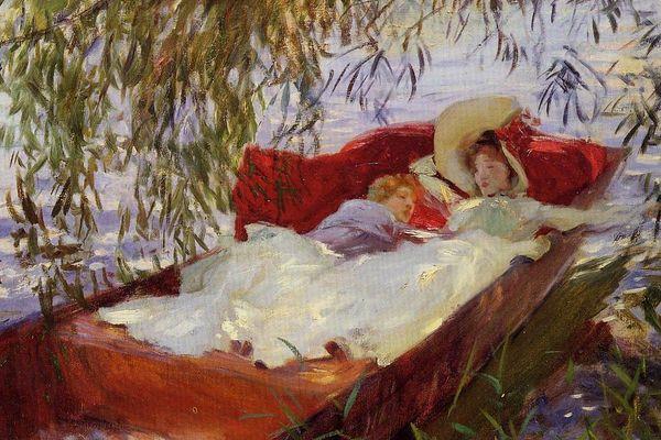John Singer Sargent, Deux Femmes endormies dans une barque sous les saules, 1887 - détail