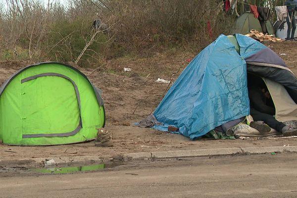 Campement de migrants à Calais dans la zone des Dunes.