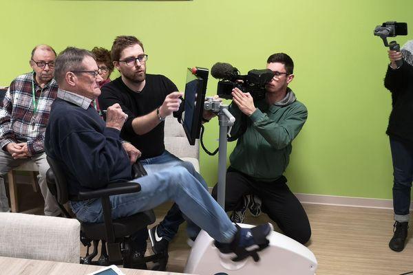 Le vélo cognitif de la société limougeaude Rev'lim, destiné à faire travailler aussi bien le physique que l'intellect des seniors.