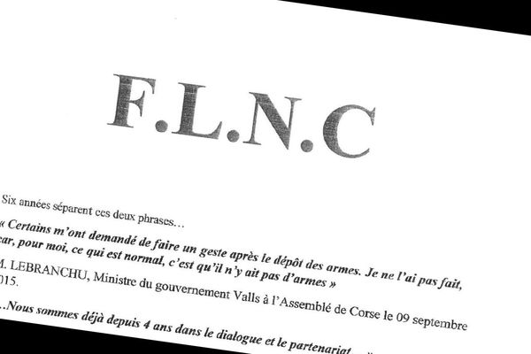 Le communiqué du FLNC a été rendu public le 2 septembre 2021.