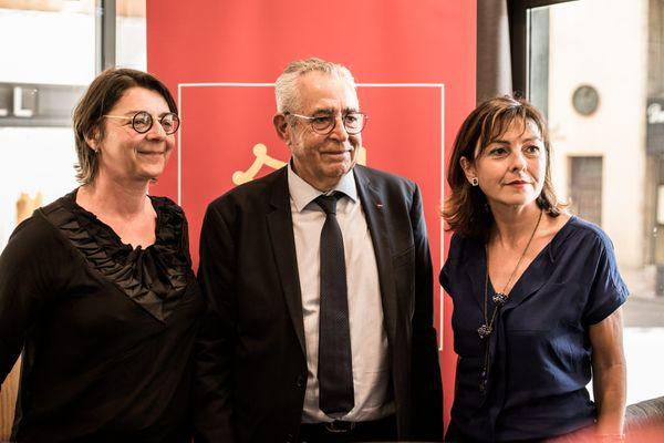 Agnès Langevine, à gauche, aux côtés de Jean-Marc Pujol et de Carole Delga, le 12 juin 2020.