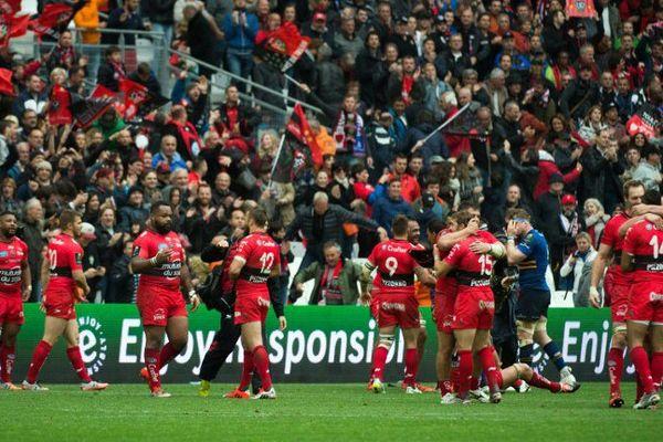 Le RC Toulon lors de la demi-finale de coupe d'Europe remportée au Vélodrome à Marseille face à Leinster le 19 avril.