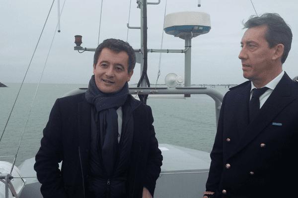 Gérald Darmanin, Ministre visite l'Aunis 2, bateau de l'école nationale des douanes en présence de Fabrice Rigoulet-Roze, Préfet de Charente-Maritime le 16 février 2018