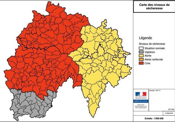 La préfecture du Cantal a annoncé, lundi 24 septembre, un nouveau renforcement des mesures de limitation des usages de l'eau.
