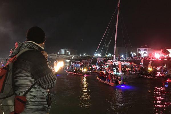Yannick Bestaven remontant le chenal vers le port des Sables d'Olonne le 28 janvier 2021