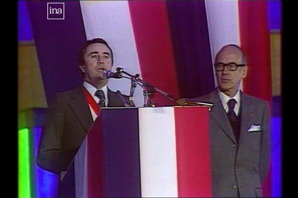 Jean-Pierre Soisson (à g.) alors maire d'Auxerre, reçoit le Président Valéry Giscard d'Estaing le 26 janvier 1978