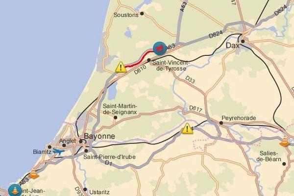 A 19h des embouteillages touchaient l'A 63 suite à un accident à hauteur de Saint-Geours-de-Maremen.