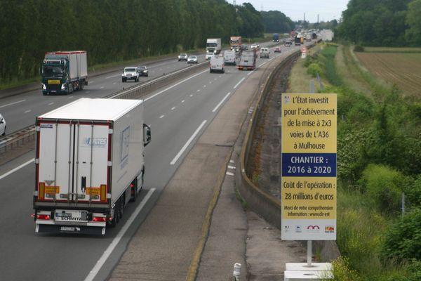 Durant les travaux d'achèvement de la mise à 2X3 voies de l'A36 à hauteur de Mulhouse, des perturbations sont à prévoir.