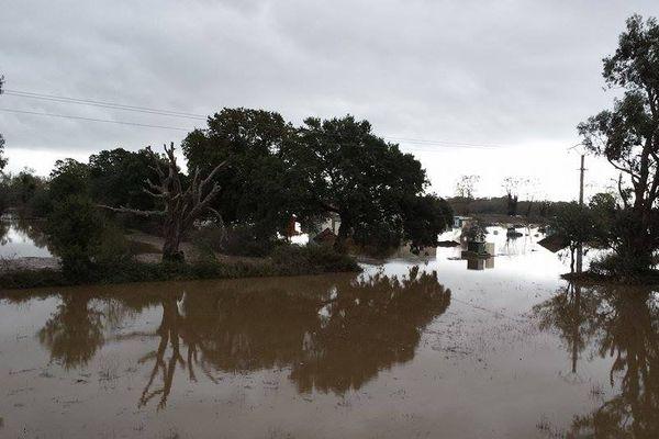 28/11/14 - Intempéries en Corse, le fleuve Fiumorbo (Haute-Corse) a débordé