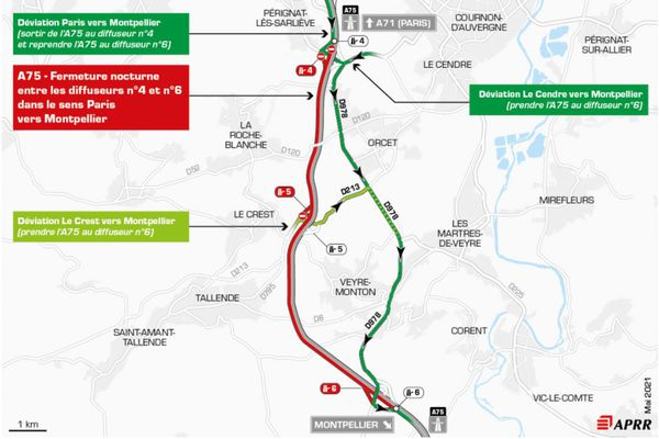 Jeudi 20 mai, la circulation sera déviée sur l'autoroute A75, au sud de Clermont-Ferrand.