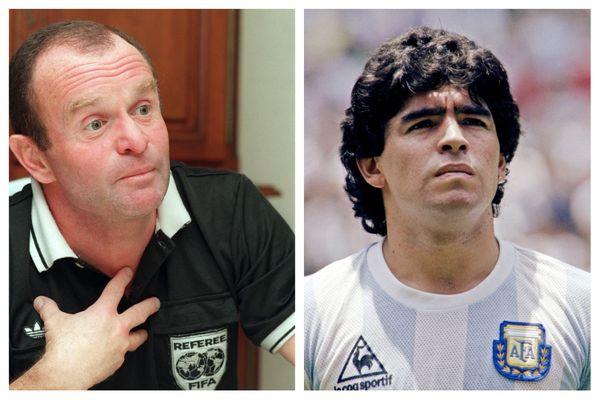 L'arbitre alsacien Robert Wurtz (à gauche) a pu rencontrer le joueur argentin Diego Maradona, mort le 25 novembre, lors d'un match amical en 1997.