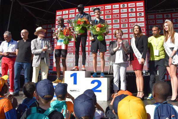 Le podium de la 9e édition du Marathon Metz Mirabelle, dimanche 14 octobre 2018.