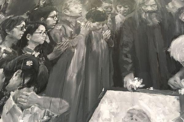 Détail de « Un enterrement à Shanghaï » de Yan Pei-Ming