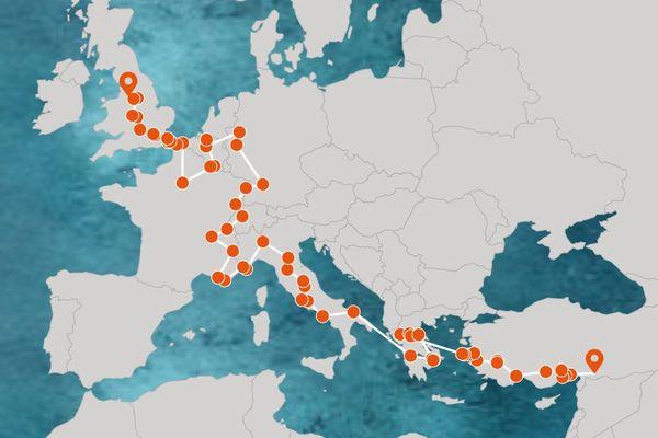 Le périple correspond à la traversée de l'Europe de nombreux migrants de la Turquie à l'Angleterre.