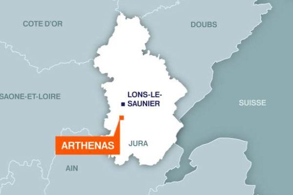 Carte d'Arthenas dans le Jura