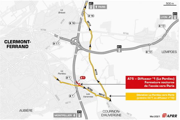 Mardi 18 mai, la circulation sera déviée sur l'autoroute A75, au sud de Clermont-Ferrand.