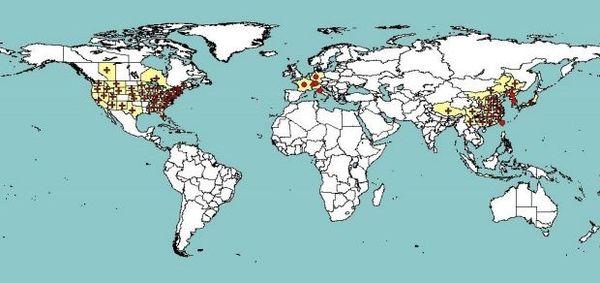 Presque tous les continents sont aujourd'hui concernés par le phénomène