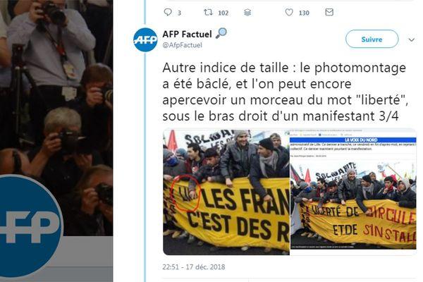 Capture d 'écran du compte Twitter AFP Factuel