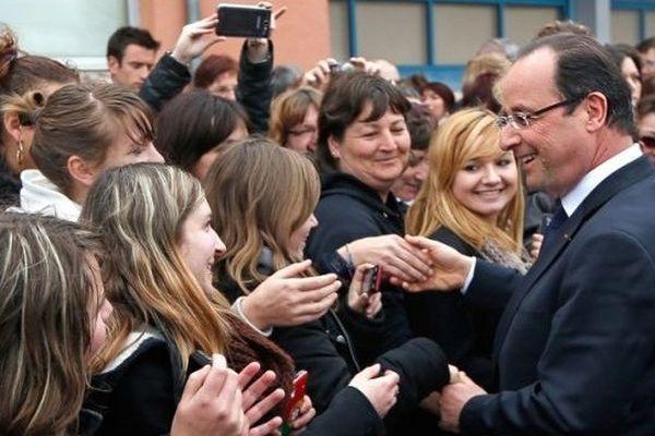 François Hollande en visite dans le Doubs, en 2013