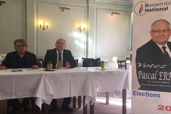 Dans le cadre des élections municipales 2020, Gilbert Collard et Pascal Erre donnent une conférence de presse à Vitry-le-François le samedi 22 février 2020.