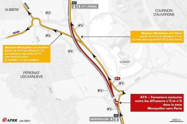 Lundi 28 juin, la circulation sera déviée sur l'autoroute A75 près de Clermont-Ferrand.