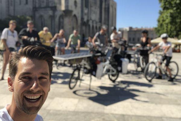 Jérôme Zindy, à son départ d'Avignon, devant le Palais des Papes, ce dimanche 19 juillet