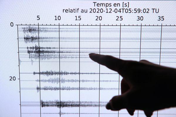 L'enregistrement de la secousse du 4 décembre 2020 par le Renass (Réseau National de Surveillance Sismique) de l' Université de Strasbourg.