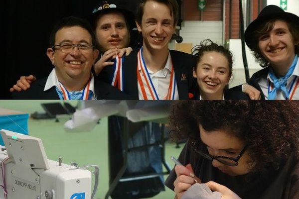 Laurent, Camille (et son binôme Yann derrière lui), Anne-Hestia, Maël et Nourria rentrent tous primés des Abilympics de Bordeaux