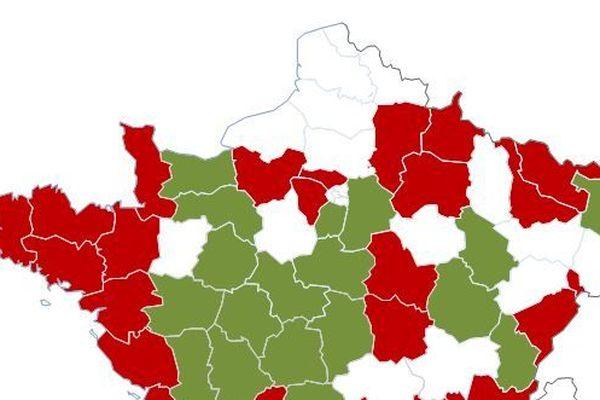 Vert: les départements qui repassent à 90km/h. Rouge: les départements qui restent à 80km/h. Blanc: les départements qui ne se sont pas positionnés.