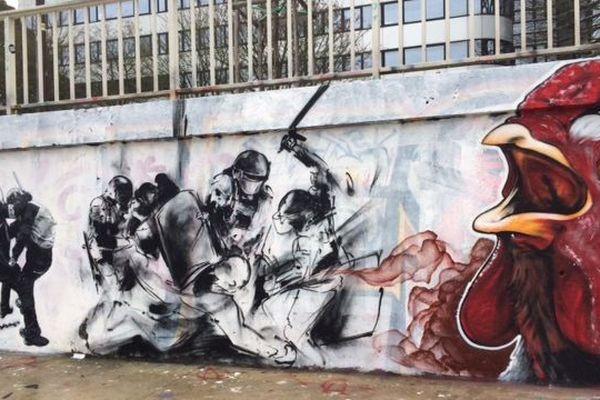 La fresque contre la répression, bd Doumergue à Nantes , bd Doumergue à Nantes