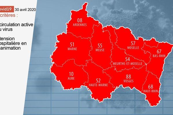 Voici la première version provisoire de la carte des départements du Grand Est, jeudi 30 avril